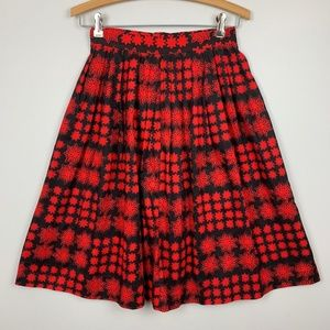 Vintage 50s Skirt Black & Red Floral Print Cotton